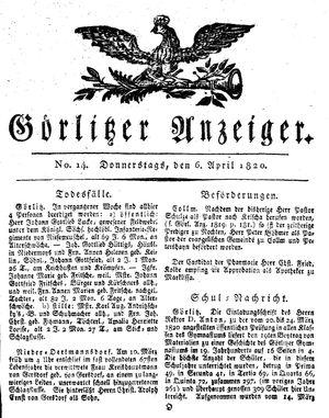 Görlitzer Anzeiger vom 06.04.1820