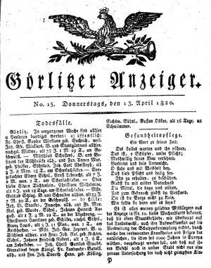 Görlitzer Anzeiger vom 13.04.1820