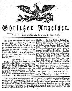 Görlitzer Anzeiger vom 20.04.1820