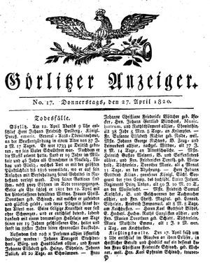 Görlitzer Anzeiger vom 27.04.1820