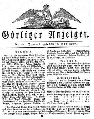 Görlitzer Anzeiger vom 18.05.1820