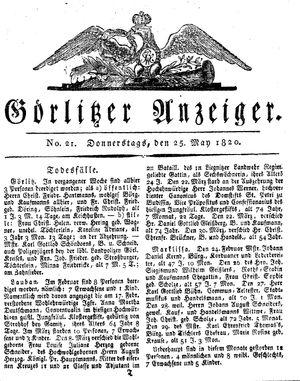 Görlitzer Anzeiger vom 25.05.1820