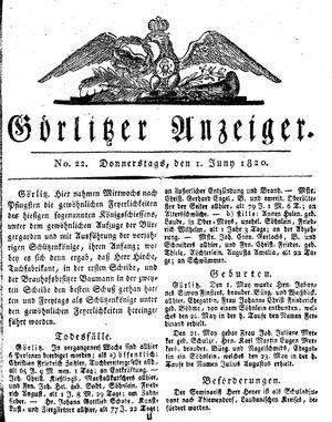 Görlitzer Anzeiger vom 01.06.1820