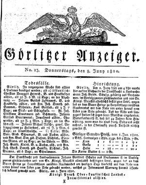 Görlitzer Anzeiger vom 08.06.1820