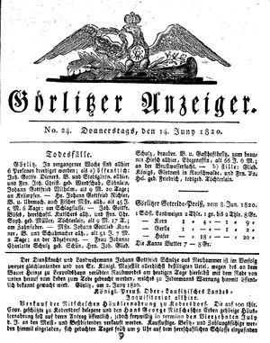 Görlitzer Anzeiger vom 15.06.1820