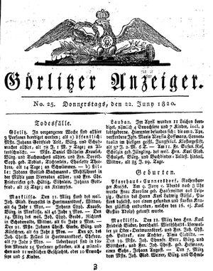 Görlitzer Anzeiger vom 22.06.1820
