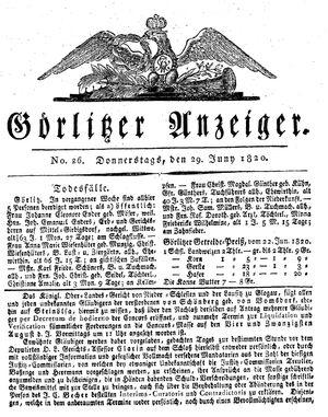Görlitzer Anzeiger vom 29.06.1820
