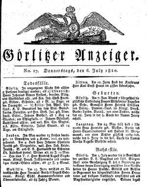 Görlitzer Anzeiger vom 06.07.1820