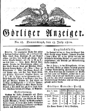 Görlitzer Anzeiger vom 13.07.1820