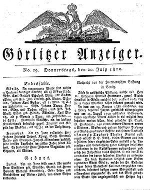 Görlitzer Anzeiger vom 20.07.1820