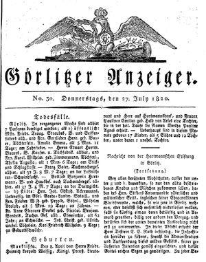 Görlitzer Anzeiger vom 27.07.1820
