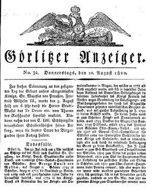 Görlitzer Anzeiger vom 10.08.1820