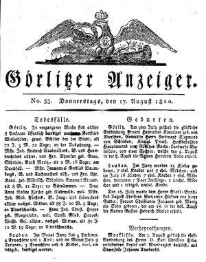 Görlitzer Anzeiger vom 17.08.1820