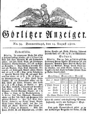 Görlitzer Anzeiger vom 24.08.1820