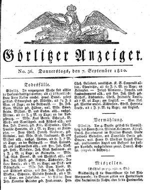 Görlitzer Anzeiger vom 07.09.1820