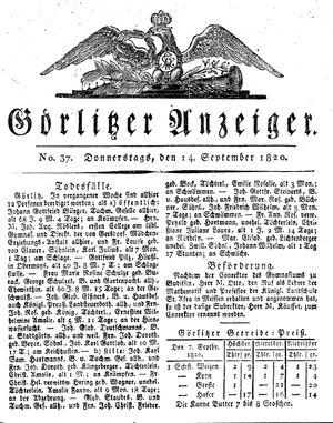 Görlitzer Anzeiger vom 14.09.1820