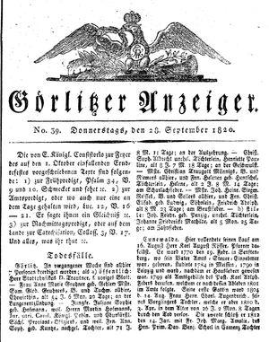 Görlitzer Anzeiger vom 28.09.1820