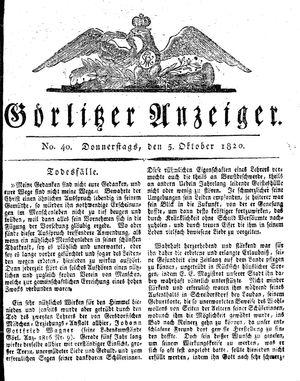 Görlitzer Anzeiger vom 05.10.1820