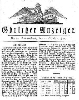 Görlitzer Anzeiger vom 12.10.1820