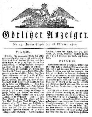 Görlitzer Anzeiger vom 26.10.1820