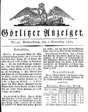 Görlitzer Anzeiger vom 02.11.1820