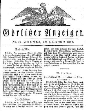 Görlitzer Anzeiger vom 09.11.1820