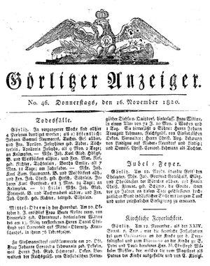 Görlitzer Anzeiger vom 16.11.1820