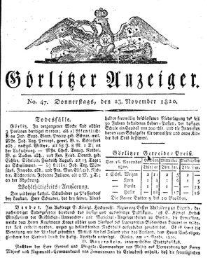 Görlitzer Anzeiger vom 23.11.1820