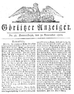 Görlitzer Anzeiger vom 30.11.1820