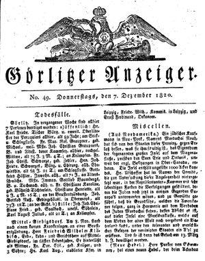 Görlitzer Anzeiger vom 07.12.1820