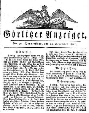 Görlitzer Anzeiger vom 14.12.1820