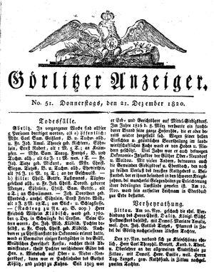 Görlitzer Anzeiger vom 21.12.1820