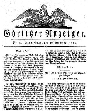Görlitzer Anzeiger vom 28.12.1820