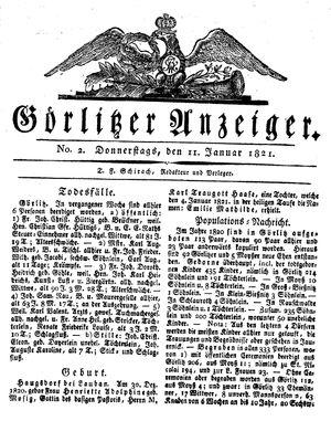 Görlitzer Anzeiger vom 11.01.1821