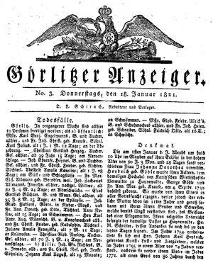 Görlitzer Anzeiger vom 18.01.1821