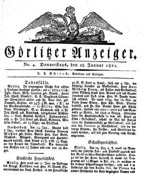 Görlitzer Anzeiger vom 25.01.1821