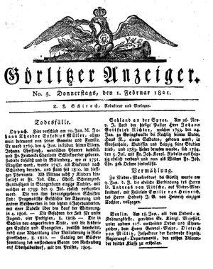 Görlitzer Anzeiger vom 01.02.1821