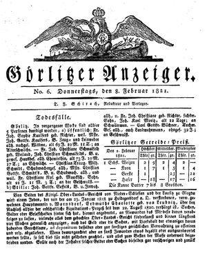 Görlitzer Anzeiger vom 08.02.1821