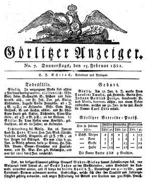 Görlitzer Anzeiger vom 15.02.1821