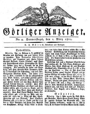 Görlitzer Anzeiger vom 01.03.1821