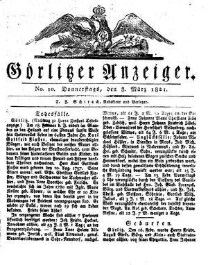 Görlitzer Anzeiger vom 08.03.1821