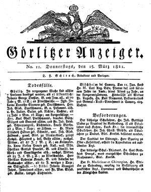 Görlitzer Anzeiger vom 15.03.1821