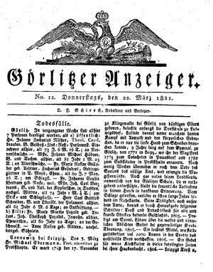 Görlitzer Anzeiger vom 22.03.1821