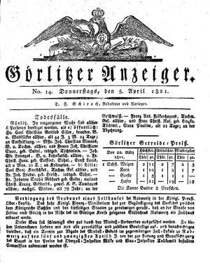 Görlitzer Anzeiger vom 05.04.1821