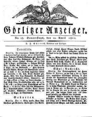 Görlitzer Anzeiger vom 12.04.1821
