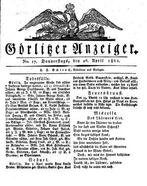 Görlitzer Anzeiger vom 26.04.1821
