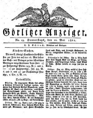 Görlitzer Anzeiger vom 10.05.1821