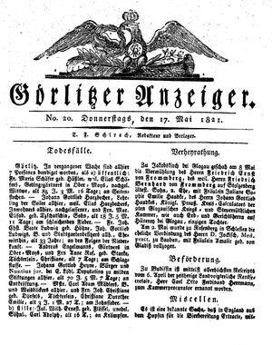 Görlitzer Anzeiger vom 17.05.1821