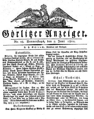 Görlitzer Anzeiger vom 07.06.1821