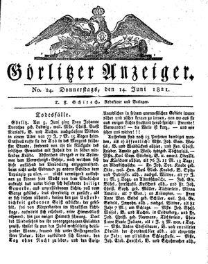 Görlitzer Anzeiger vom 14.06.1821